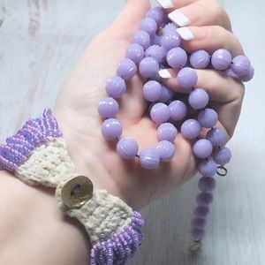 Vintage Lavender Purple beaded necklace & Bracelet